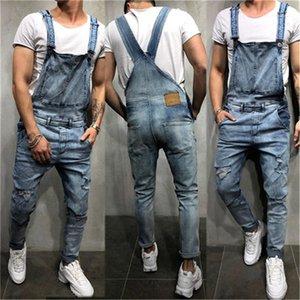 Мужская Кнопка Лоскутной Fly Одежда Дизайнерская Тощие Мужские Длинный Жан Комбинезон летних моды Дырка Жан Рабочие штаны