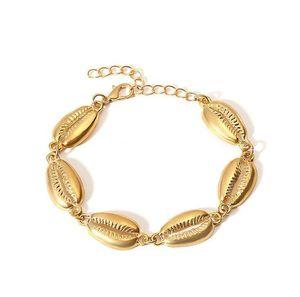 Yeni Deniz Kabukları Şekil Bilezik Altın Zincir Moda Conch Bilezik Kadınlar Için Basit Yaz Plaj Tatil Takı Hediye Kızlar için