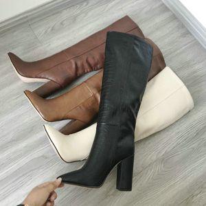 La venta caliente-diseñador de cuero de imitación de las mujeres de la rodilla botas altas botas de punta estrecha larga de las mujeres Chunky bloque de tacón alto Botas Negro Brown del albaricoque