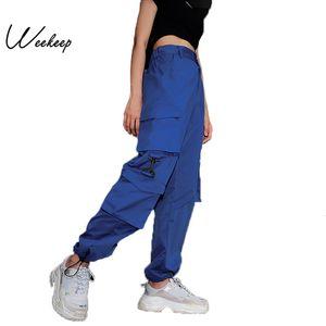 Weekeep 여성 높은 허리 블루 카고 바지 패션 느슨한 포켓 바지 여자 스트리트 패치 워크 연필 땀 바지 하단 CJ1191109