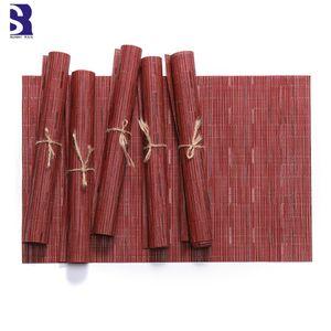 SunnyRain 6 pièces en PVC Bamboo Stripe rectangulaire Table Setting Set de table Tapis Isolation Mat Lieu