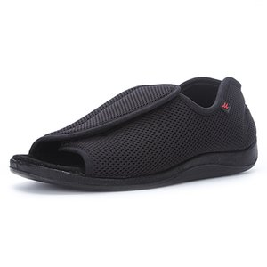 Lesvago Summer open toe Edema shoes Extra Wide width Slippers velcro Closure soft&comfy Shoes for fat wide swollen feet Elderly Men