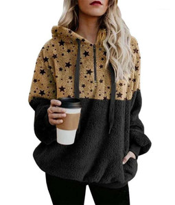 Zipper Neck Thick Sweatshirts Casual Female Clothing Winter Womens Designer Hoodies Star Printed Contrast Color Panelled