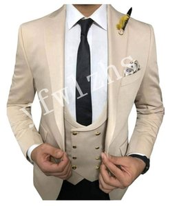 Handsome One Button Groomsmen Peak Lapel Groom Tuxedos Mens Wedding Dress Man Jacket Blazer Prom Dinner suits (Jacket+Pants+Tie+Vest) W69