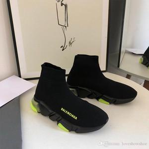 남성 여성 패션 여성 부츠 운동화 코치 신발 35-45 2020 럭셔리 파리 니트 양말 신발 트리플 속도 트레이너 블랙 화이트 캐주얼 신발