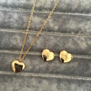 18K ouro rosa de prata meninas mulheres carta coração Conjuntos flor amor Jóias Moda carta brincos de pingente de colar de presente de Natal Atacado