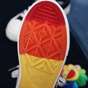 Beier 2019 outono sapatos nova baixa superior relâmpago de lona para mulheres Versão coreana net fábrica do arco-íris vermelha sapatos casuais fundo de vendas diretas