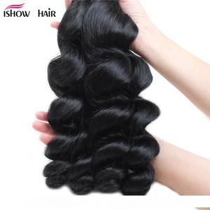 H Free Shipping Maylasian Brazilian Peruvian Unprocessed Virgin Hair Loose Wave Hair 4 Bundles Ishow Top 8a Hair Weave 8 -28inch Hot Se