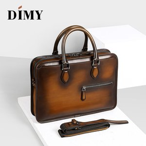 Handmade DIMY Zipper Laptop Man's Briefcases Fashion Cow Leather Case For Totes Genuine Style Bags Shoulder Bag Business Men Qwbic