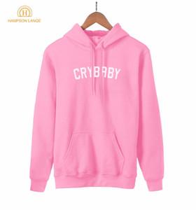 HAMPSON LANQE Crybaby Cry Baby Kawaii rosa Felpa Donna 2019 nuovo stile della molla autunno Donne con cappuccio in pile casuale Streetwear