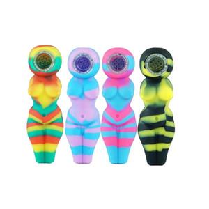 2020 Cheap Sexy Woman Oil Burner pipe avec bol en verre coloré pipe à eau Hookah Shisha 4,1 pouces