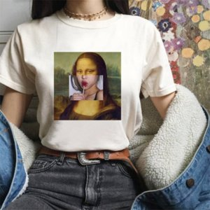 Kadınların kısa kollu zsiibo boyama tişört yağı boyama 2019 parodi baskı yuvarlak yakalı kadın tişört üst yağı