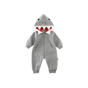 Neugeborenes Kind-Baby Spielanzug mit Kapuze 3D Hai Dinosaurier Kostüm Baby Cotton Halloween Weihnachten Tier jumpsuits one size Kinder