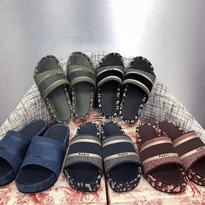 Canvas Carta Designer Mulheres Dway Sandals bordado Cotton Platform Slipper Branded Lady Plano mulas antiderrapantes sapatos slides com caixa