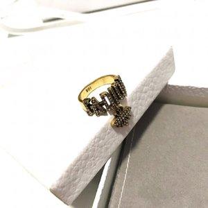 패션 슈퍼 뜨거운 고전적인 편지 꿀벌 다이아몬드 디자이너 링 명품 디자이너 보석 여성 반지