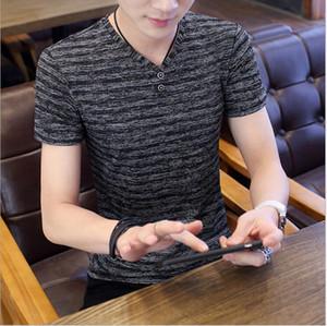 Men Casual Summer Short-Sleeved T-Shirt Regular Striped Hollowed Out Shirt Tops Casual Sports Commuter Button Shirt