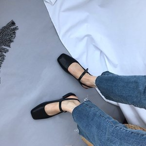 Women Spring 2019 Mules Shoes Sandals Back Strap Square Toe Shallow Slides Casual Outdoor Slip On Flat Single Shoes Y200702