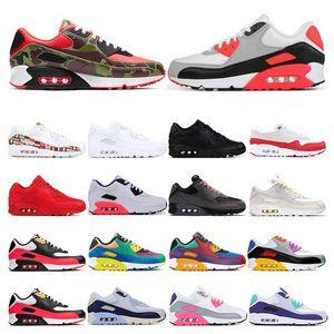 2020 zapatillas de deporte para los hombres 90 de infrarrojos Universidad Roja Internacional mixtape Bred deportes de la moda de las mujeres de uva zapatilla de deporte de tamaño entrenador 36-45