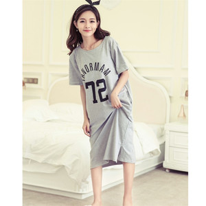 2020 Spring and summer women's short sleeve nightdress letter loose large dress