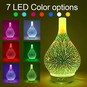 3D Firework Стеклянная ваза Форма Увлажнитель воздуха с 7 Цвет Led Night Light Aroma Эфирное масло Диффузор Mist Maker Ультразвуковая HUMI