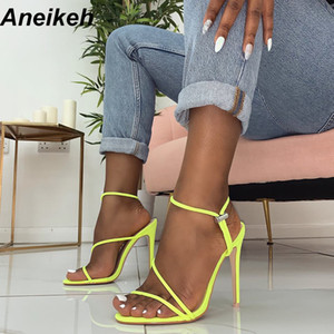 Aneikeh 2019 New Fashion Sandals Knöchelriemen Kreuzriemen Damen Sandalen 12cm High Heels Schmalband Slip-On Sandalen Kleid Pumps MX190711