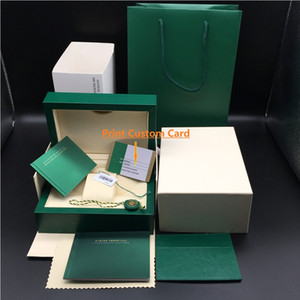 Original Match Correct Papers Carta di sicurezza Gift Bag Top Green Wood Watch Box per Rolex Boxes Libretti Orologi Stampa gratuita Scheda personalizzata