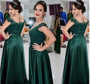 Stunning bordato collo Appliques del merletto formale sposo Madre Invitato a un matrimonio abito 2020 Prom Dress smeraldo verde Madre della Sposa Abiti Sheer