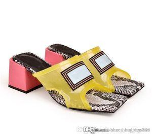Sandalias de tacón medio para mujeres, diapositivas de tacón alto de mulas de PVC con suela de cuero Made in Italy 6cm / 9cm Tamaño 35-42