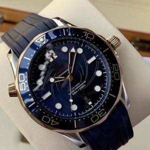 New Style Co-Axial Maître Mécanique Automatique Cadran Bleu Lunette Céramique Diver maître 007 James Bond Hommes Montres Dot Hour Marqueurs Montres-bracelets
