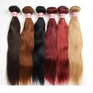Armadura brasileña del pelo humano de la Virgen de lotes brasileña recta del pelo teje extensiones del cabello humano 100G color # 1 # 2 # 4 # 30 # 99j # 33 # 27