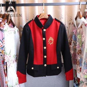 AELESEEN 2019 가을 핫 모델 캐주얼 짧은 재킷 여성 싱글 브레스트 Botton 스탠드 칼라 편지 인쇄 최고 판매