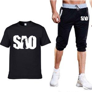 Летние мужские костюмы для аниме Sword Art Online SAO Printed Mens с коротким рукавом круглый вырез повседневная хлопчатобумажная мужская футболка+брюки костюм 2PcW