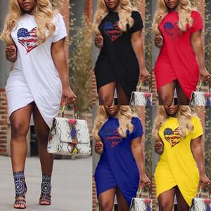 Yeni Kadınlar Summer Love Günlük Elbise Çapraz Tasarımcı Kısa kollu Şeker Renk Elbise Plus Size 5XL