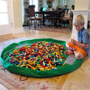 1.5m Kids Play Mat Toys Storage Bags Boxes organizer Foldable Round Playing Mat Blanket Rugs Portable Waterproof Beach Travel Pouch Pockets