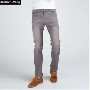 Brother Wang Men's Slim Fashion Jeans High Quality Male Elastic Gray Skinny Leisure Jeans Clothing