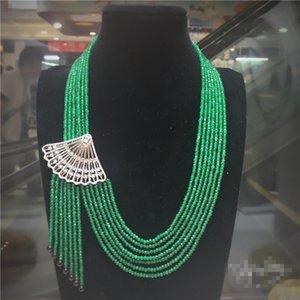حار بيع 2x4mm الطبيعي الحجر الأخضر شكل مروحة صغيرة ترصيع الزركون قفل شرابة قلادة 45-65cm طويلة سترة سلسلة الأزياء والمجوهرات