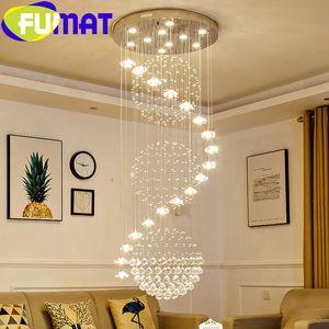 FUMAT Crystal K9 Stair Chandelier Rain Flower Drop Lighting Hanging High End Stairwell Ceiling Long Hight Modern Pendant Light