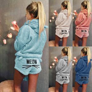 Outono Inverno Mulheres Pijamas Define Grosso Quente flanela terno de flanela manga comprida Fêmea de animal Gato pijama nightwear