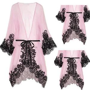 المرأة مثير الوردي الدانتيل ملابس خاصة قميص النوم كيمونو نايتي ثوب حمام رداء ثوب النوم
