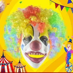 halloween party face mask horror joke clown mask anti stress toys Makeup show prop latex funny grimace dress up explosive hair T200703