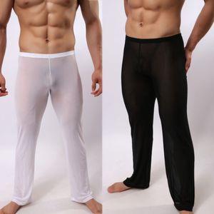 Hommes Sexy Voir À Travers Polyamide Sexy Pantalon De Sommeil Soft Lounge Sleeping Pyjamas Homme Vêtements De Nuit Pantalon De Perspective