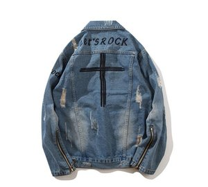 Harajuku Stickerei Reißverschluss Jacke Jeans Streetwear Hip Hop Männer Vintage Washed Denim Jacke Rot Gestreiften Denim Jacken