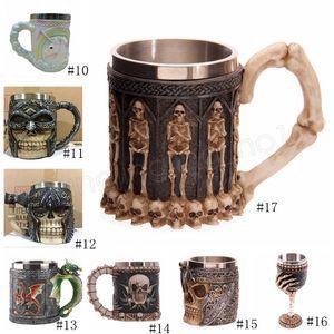 17styles Skull Head Goblet 3D Skull Skeleton Cup Stainless Steel Skull Mug Halloween Beer Mugs Rider Wine Glasses GGA2413