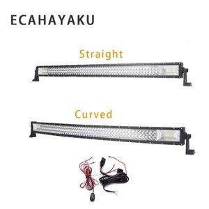 ECAHAYAKU 3-Row 22 pollici 324W dritto LED curvo Light Bar + 2M cablaggio fuoristrada combinata del fascio del lavoro del LED Light Bar 12v 24v DC