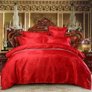 3 / 4pcs Silk Bedding Set cetim rainha rei tamanho Consolador Quilt Duvet Cover Lençóis Fronhas Folha de cama do casal do casamento Vermelho