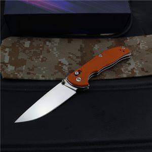 Hot Sale! Tactical Folding Knife D2 Satin Drop Point Blade Orange G10 + Steel Sheet Handle Outdoor EDC Pocket Rescue Knives