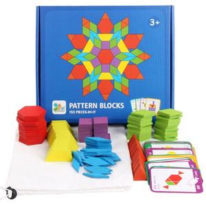 155 шт. Деревянные картины Блоки набор геометрической формы головоломки детский сад классические образовательные образовательные монтессори Tangram игрушки для детей обучения подарок