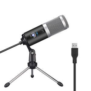 Micro à condensateur pour ordinateur portable USB PC Plug + stand studio d'enregistrement Podcasting Microfone Karaoke Mic