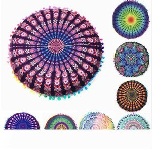 43*43cm Round Cushion Pillow Covers Mandala Meditation Floor Pillows Cover Tapestry Bohemian Pouf Throw Round Cushion Cover 522
