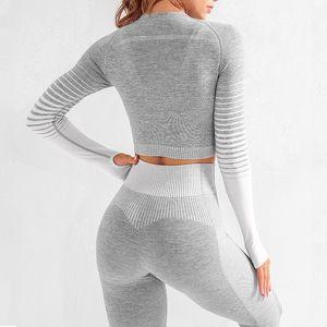 Seamless 2 Pcs Yoga Set Women Long Sleeve Top High Waisted Tummy Control Sport Leggings Gym Clothing Seamless Sport Suit